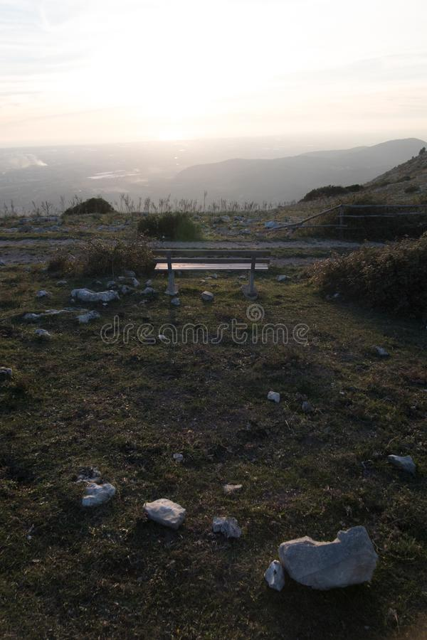 Bench in nothingness royalty free stock images