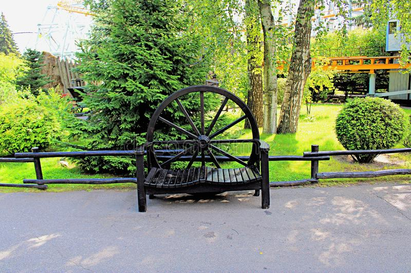 Bench of the original form in the Park stock photography