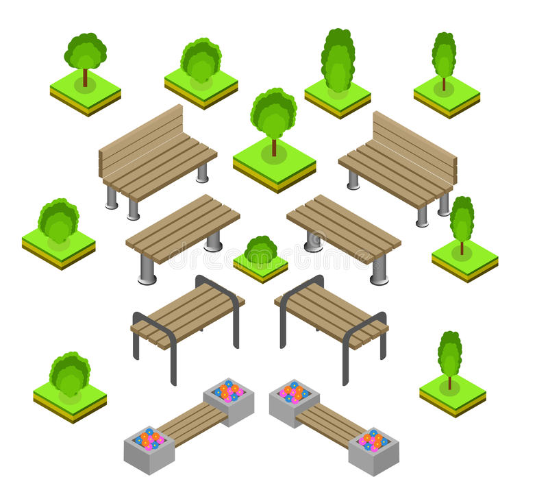 Bench. Outdoor park benches Icon Set. Wooden benches for rest in the park. Flat 3d isometric vector illustration for infographics. isometric details Park stock illustration