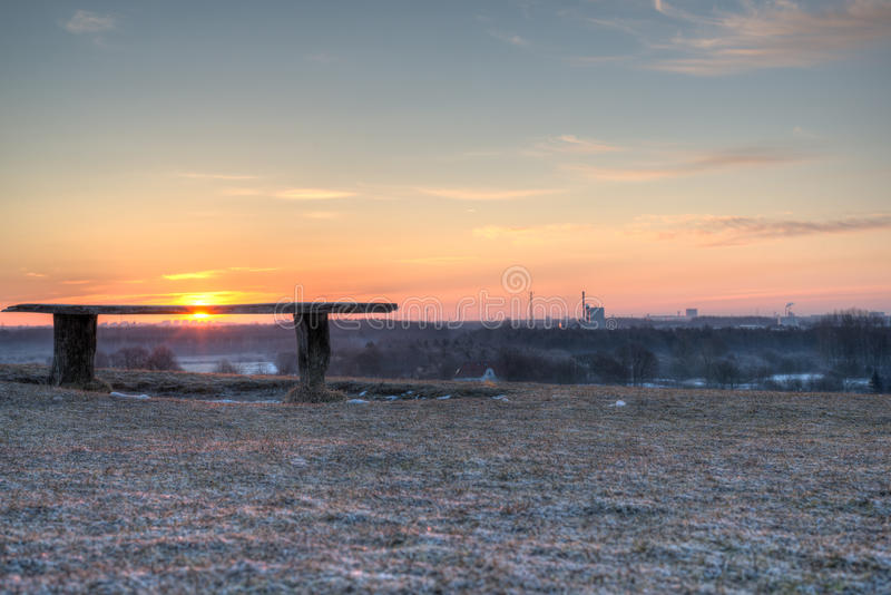Download Bench overlooking sunrise stock image. Image of blue - 33589827