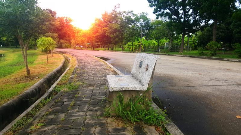 Bench in the park. Orange light This place is the best rest and exercise. Quiet and air fresh royalty free stock images