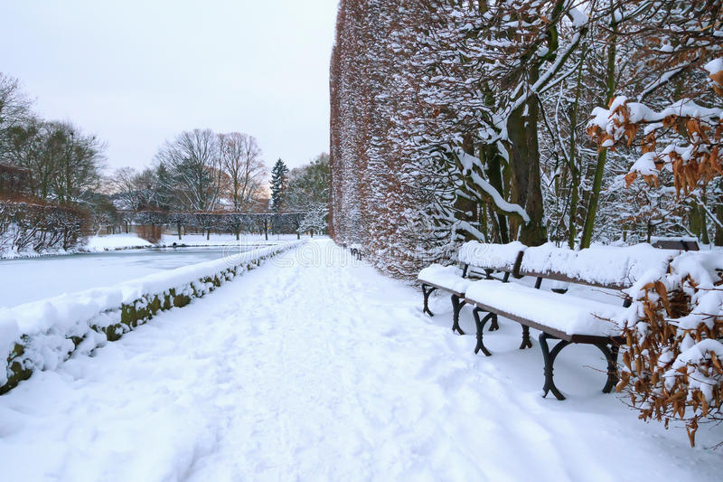 Download Bench In The Park At Snowy Winter Stock Photography - Image: 28690622
