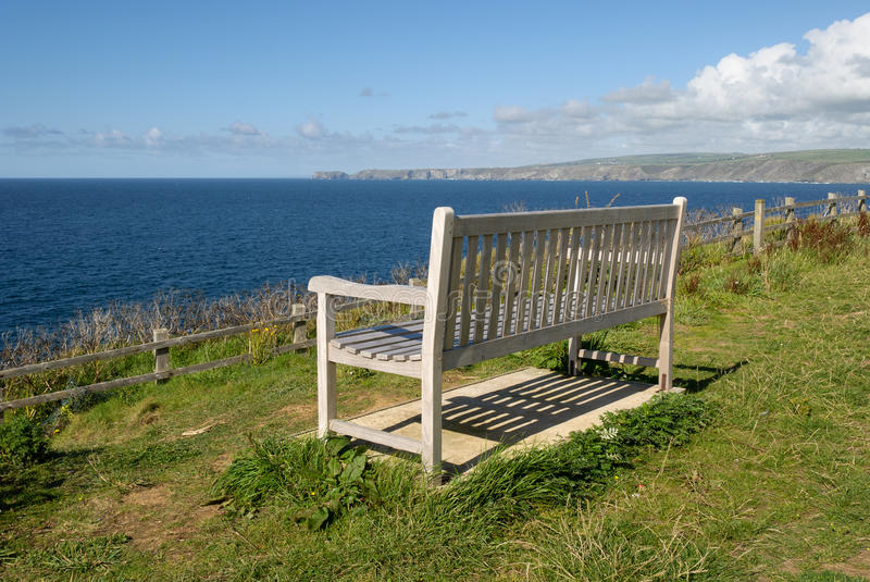 Bench in Port Isaac. Bench overlooking the sea at Port Isaac stock image