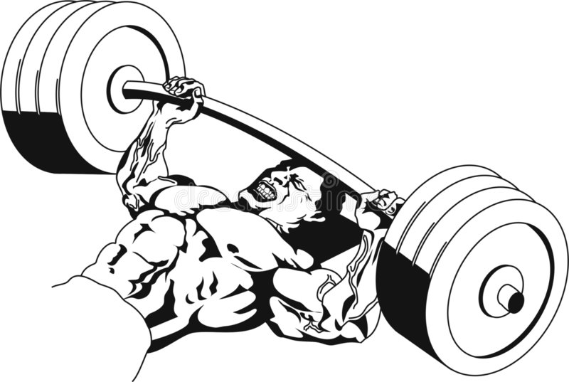 Bench press. Strong man lifting weights