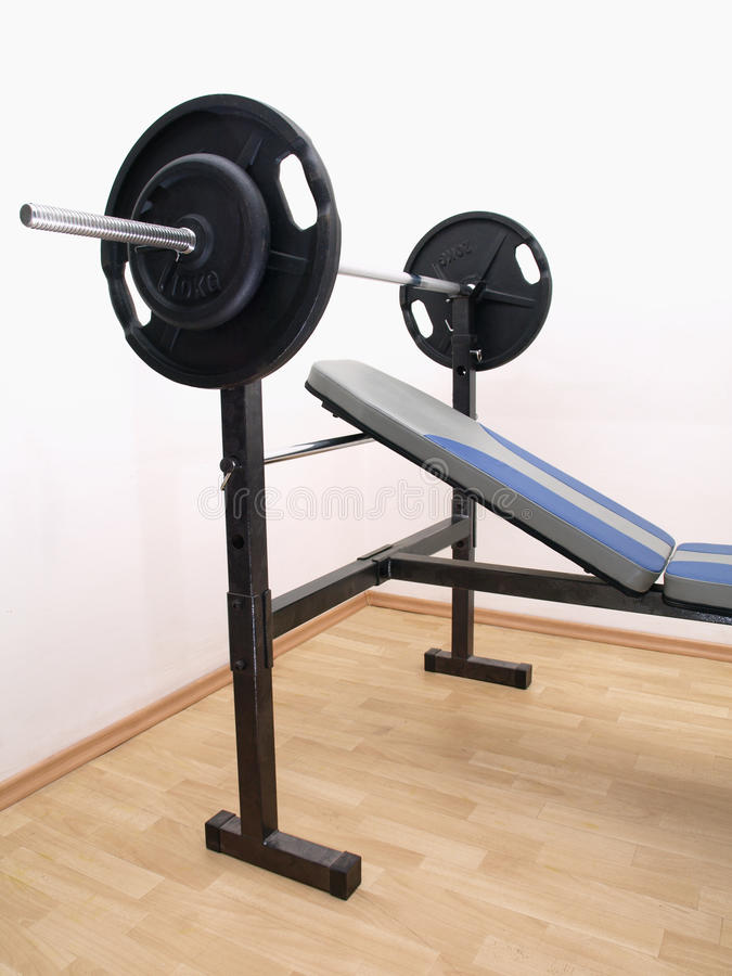 Bench press with weights royalty free stock photos