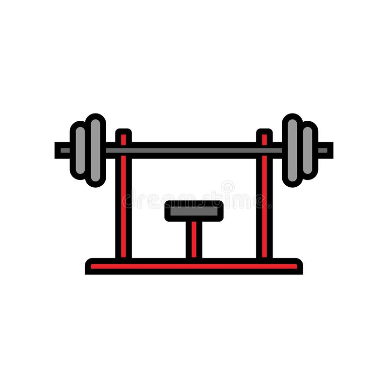 Bench press workout icon. fitness equipment for chest muscle exercise in gym. simple graphic. Eps 10 royalty free illustration
