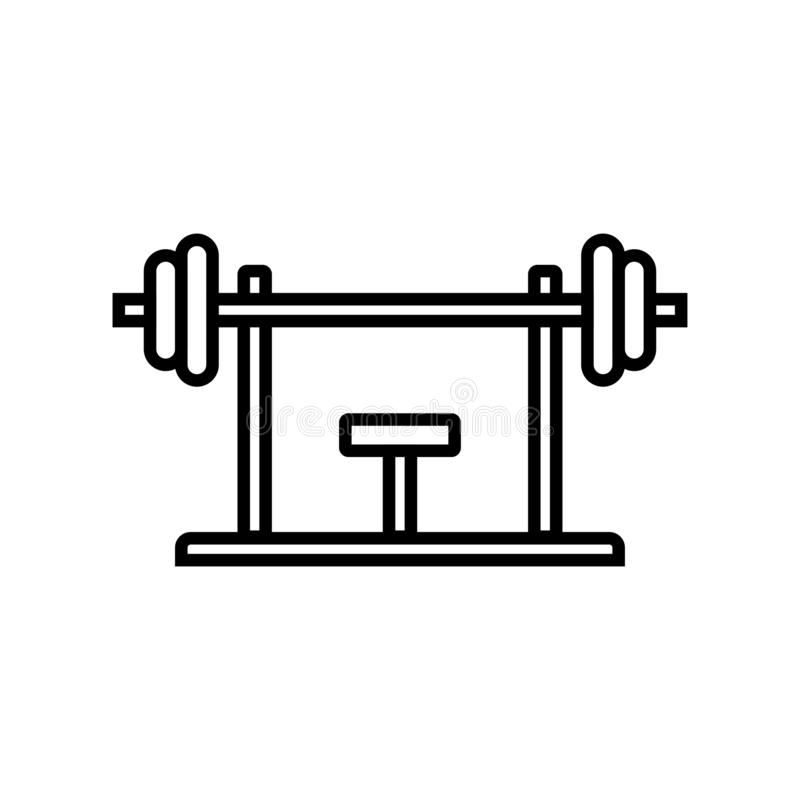 Bench press workout icon. fitness equipment for chest muscle exercise in gym. simple monoline graphic. Eps 10 vector illustration