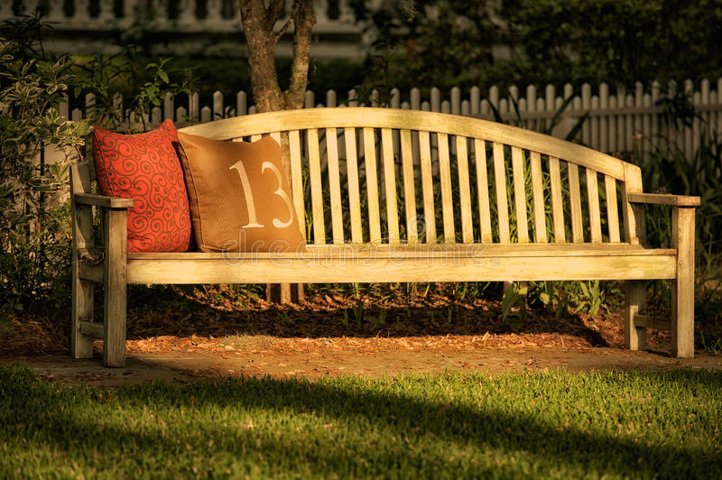 Bench for resting stock photo