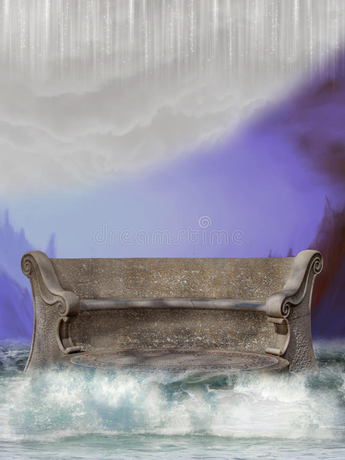 Bench in the sea vector illustration