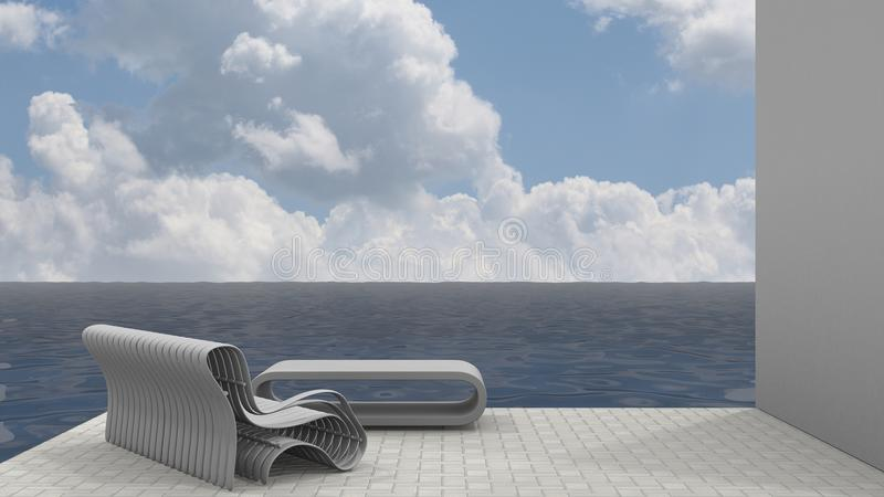 Bench Seat and Ocean Breeze royalty free illustration