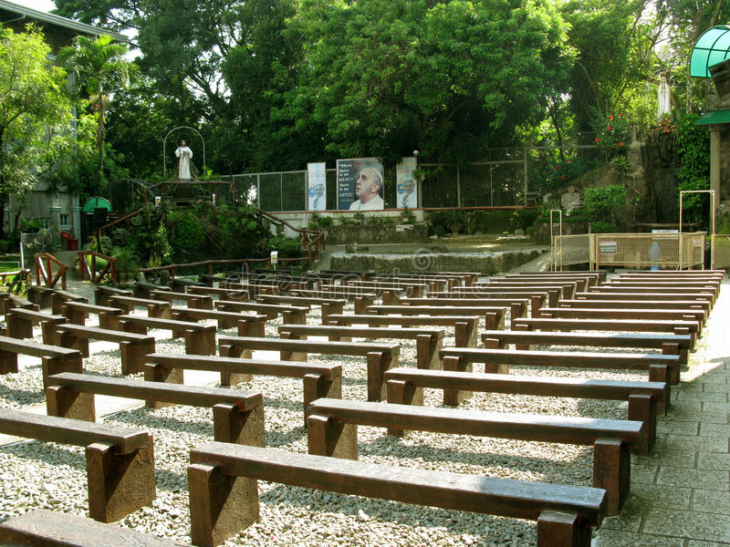 Bench Seats, National Shrine of Divine Mercy in Marilao, Bulacan. Bench Seats for Outdoor Masses, National Shrine of Divine Mercy in Marilao, Bulacan royalty free stock photography