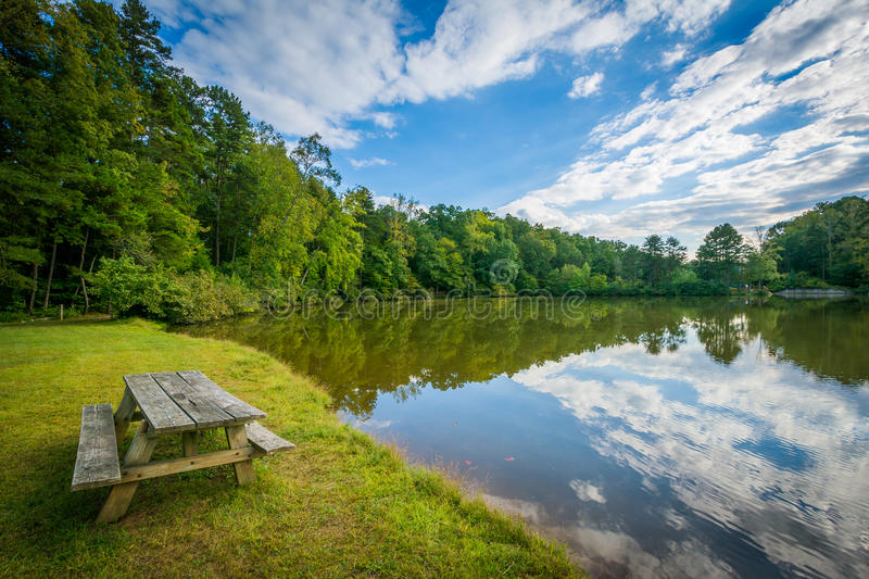 Bench on the shore of Lake Norman, at Lake Norman State Park, No stock photo