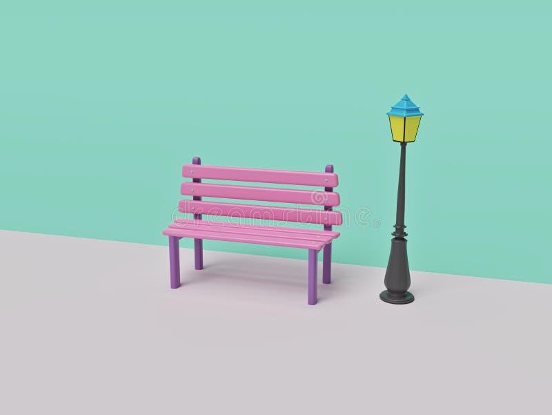 Bench And Street Lamp Stock Illustration Illustration Of