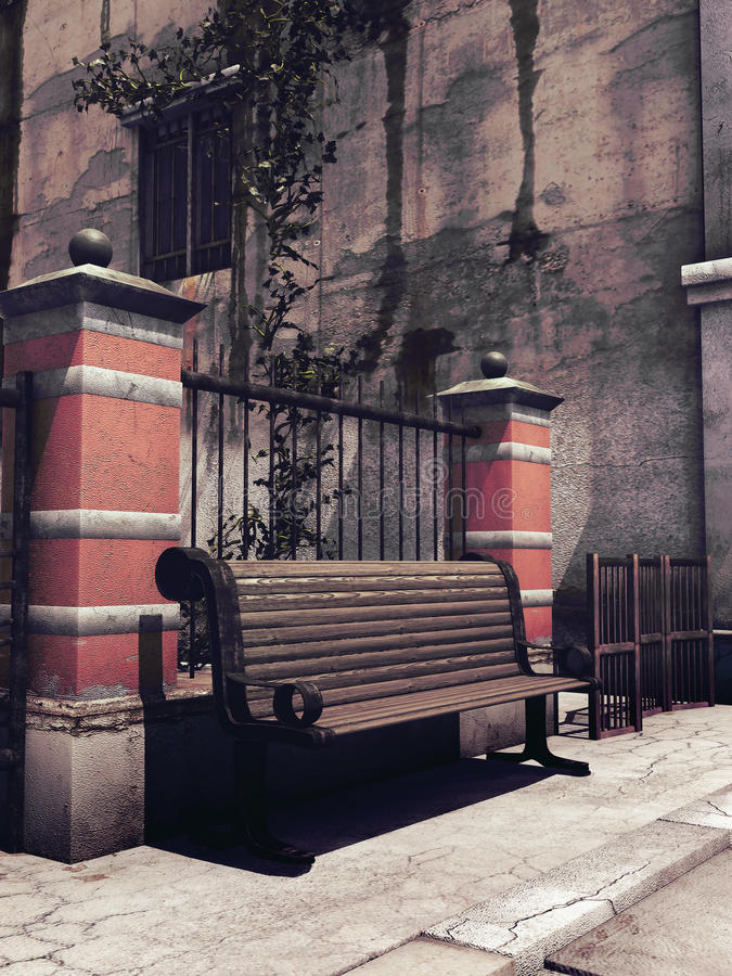 Bench in the street stock illustration