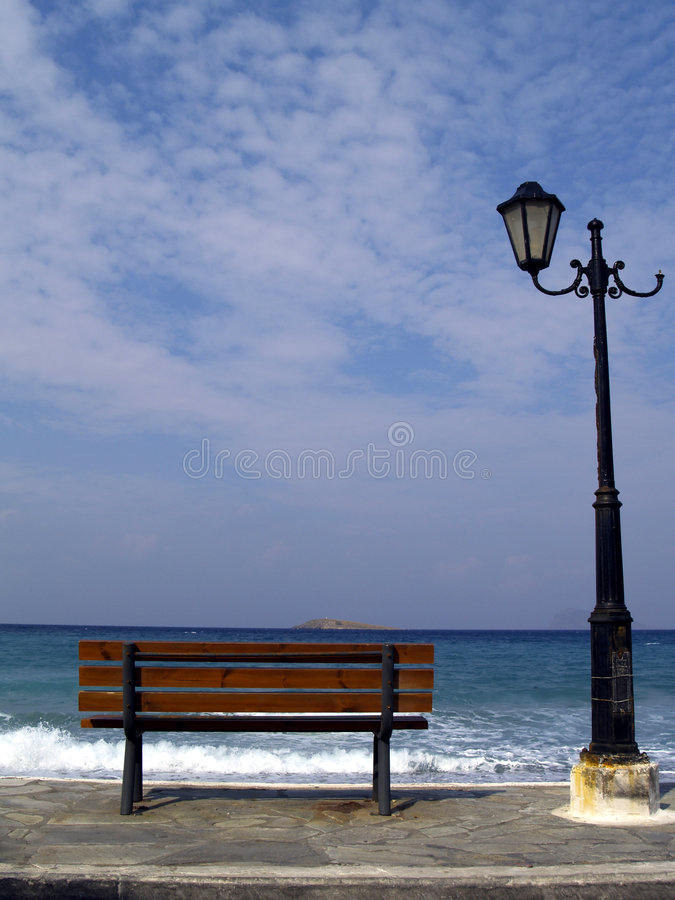 Bench and streetlight stock photography
