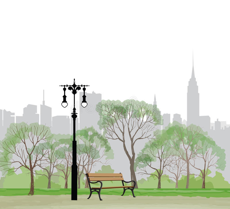 Bench and streetlight in park over city background. royalty free illustration