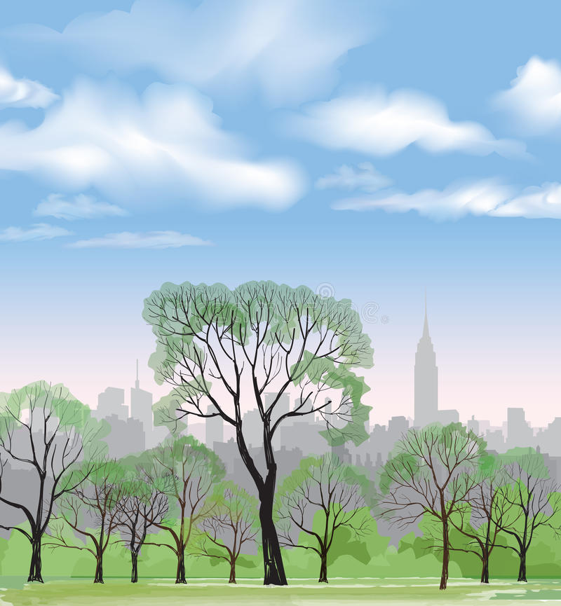 Bench and streetlight in park over city background. Landscape stock illustration