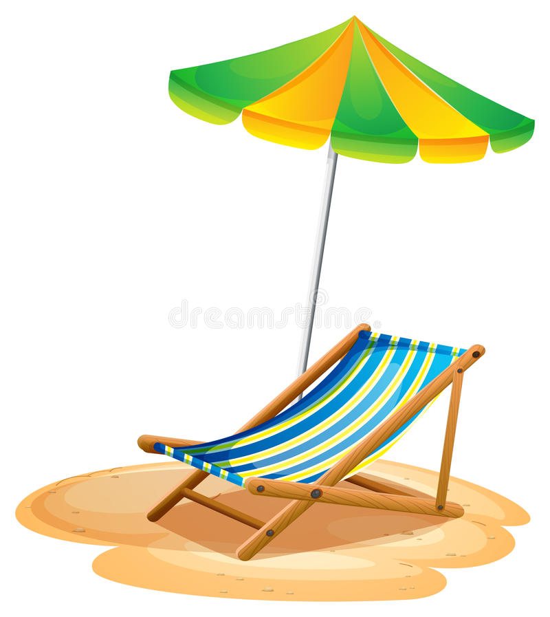 A bench with a summer umbrella. Illustration of a bench with a summer umbrella on a white background royalty free illustration