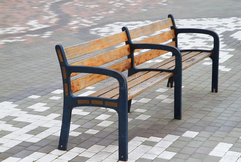Download Bench on tile stock photo. Image of park, blue, wood - 13121918