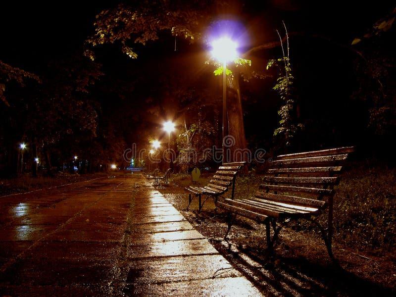 A bench to rain stock photo