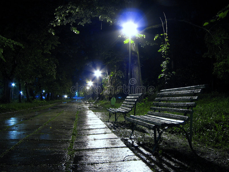 A bench to rain 2 stock image