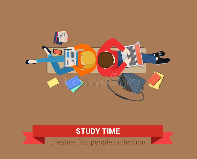 Bench top view students study time education laptop flat vector. Bench top view students study time flat web infographic concept vector. Couple education process royalty free illustration