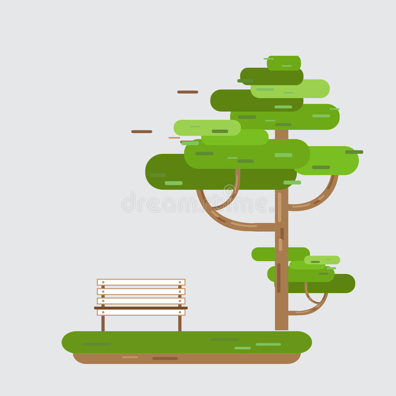 Bench On Tree in park royalty free illustration