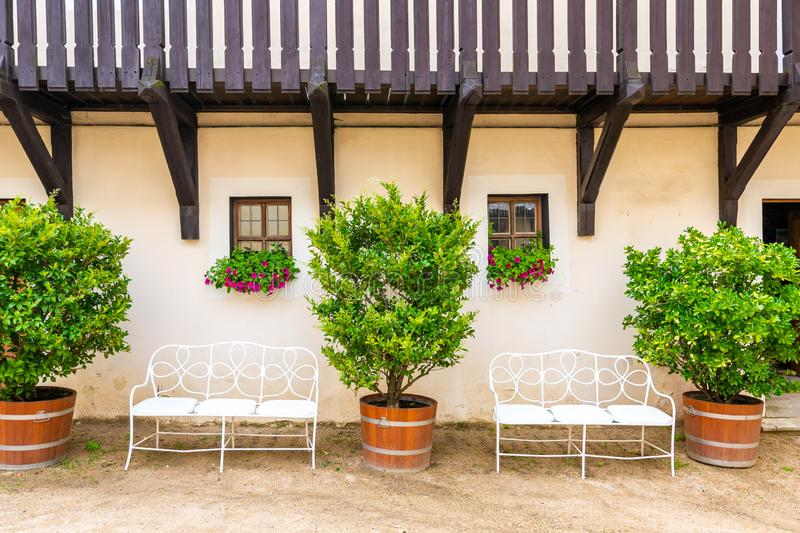 Bench under the window with flower. Big bushes next to the bench with fresh green leaves. Old home building in Europe, vintage royalty free stock images
