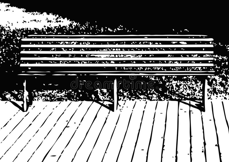 Bench (vector). Bench in a city park stock illustration