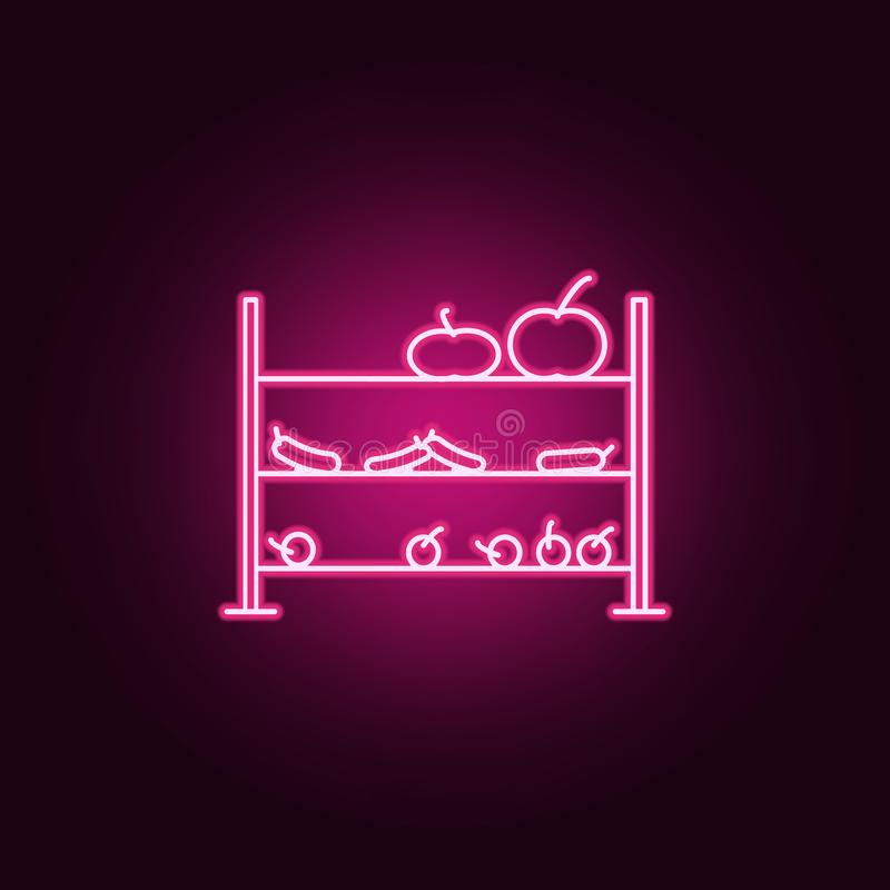 Bench with vegetables outline icon. Elements of Mall Shopping center in neon style icons. Simple icon for websites, web design,. Mobile app, info graphics on stock illustration