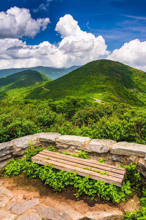 Bench and view of the Appalachians from Craggy Pinnacle. Near the Blue Ridge Parkway, North Carolina royalty free stock photo
