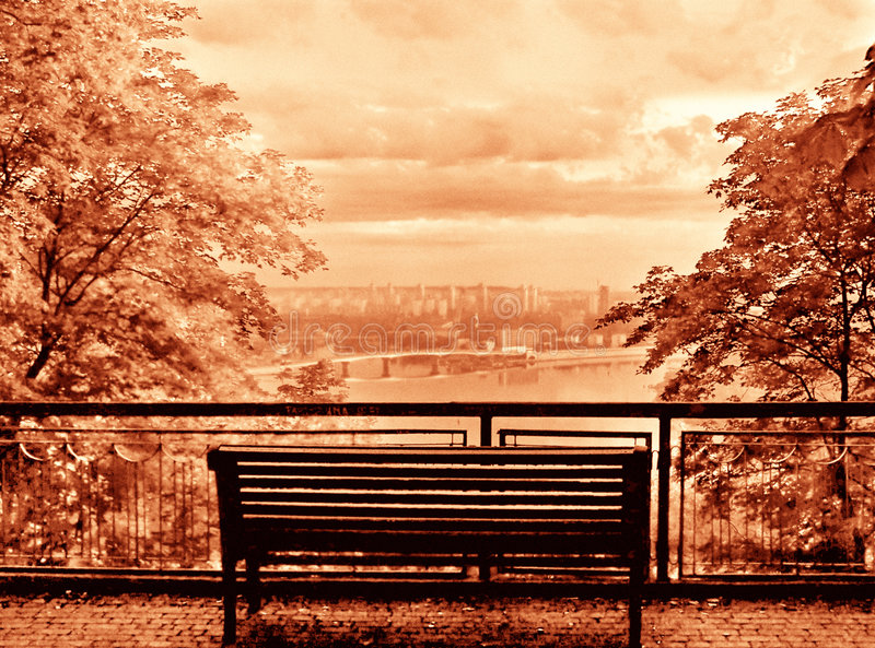 Bench and view (sepia) stock image
