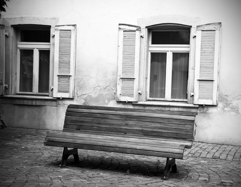 Download Bench and windows stock photo. Image of shutter, monochrome - 6027472