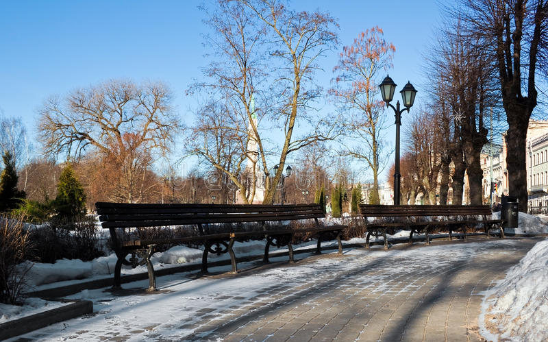Download Bench In Winter Riga Park Royalty Free Stock Photography - Image: 18284417