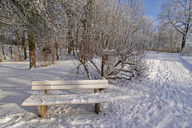 Bench in winter in the spa garden. In Bad Laer, Osnabruecker land, Lower Saxony, Germany, Europe stock image