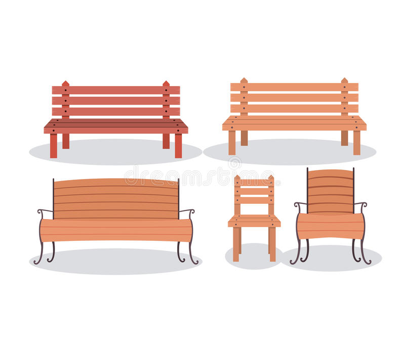 Bench And Wood Chair Design Stock Vector - Illustration of office ...