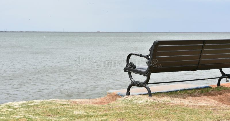 Bench, Wooden and Iron, overlooking Lake Hefner stock image