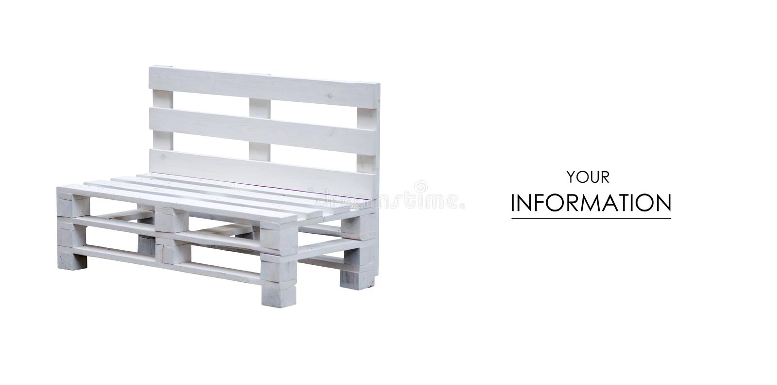 Bench wooden white pallets pattern. On white background stock photos