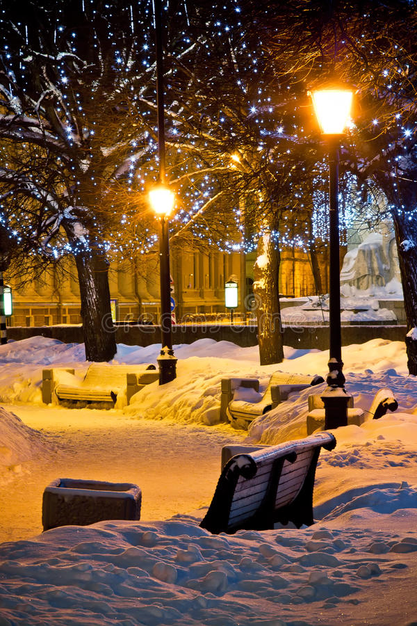 Free Benches And Lamps At Winter Night Stock Photos - 12525093