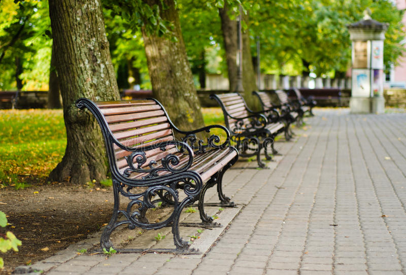 Download Benches in autumn park stock photo. Image of europe, morning - 29033358