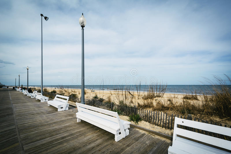 Benches on the boardwalk in Rehoboth Beach, Delaware. royalty free stock photography
