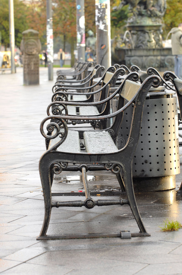 Benches in the city royalty free stock photos