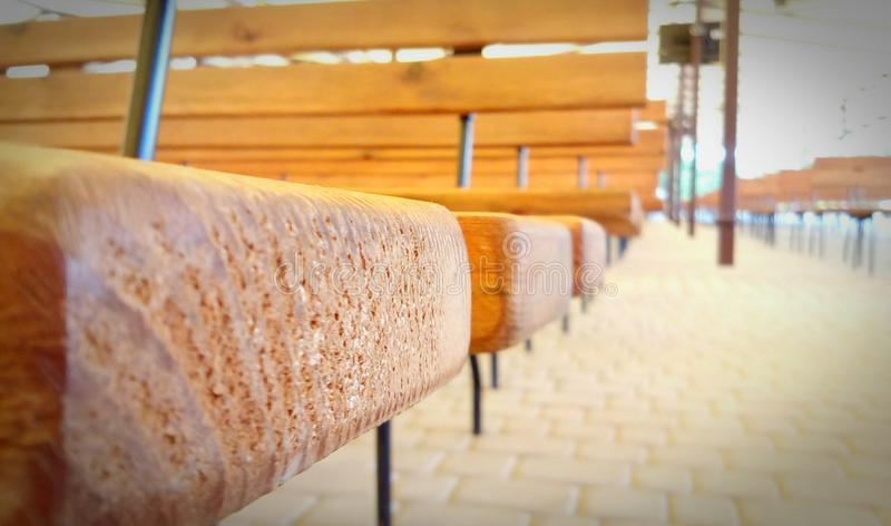 Benches left to right stock photography