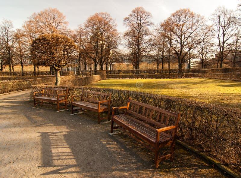 Benches. Located in Munich's Hofgarten, 2008 stock image