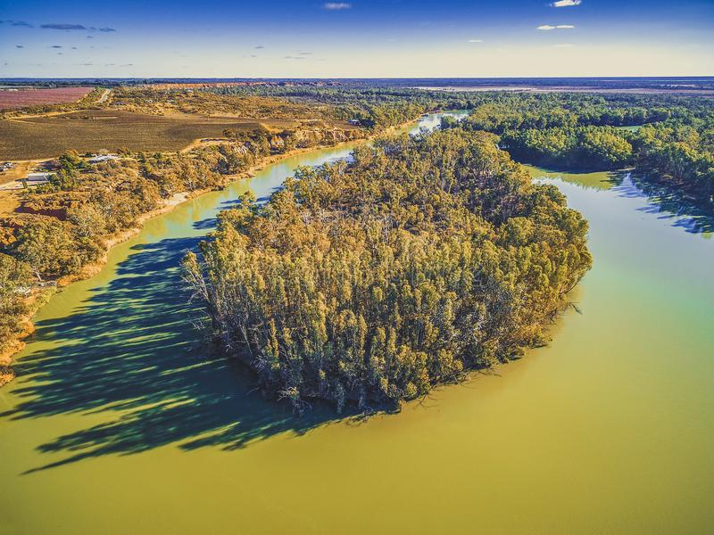Bend of the Murray River on bright sunny day. stock photo