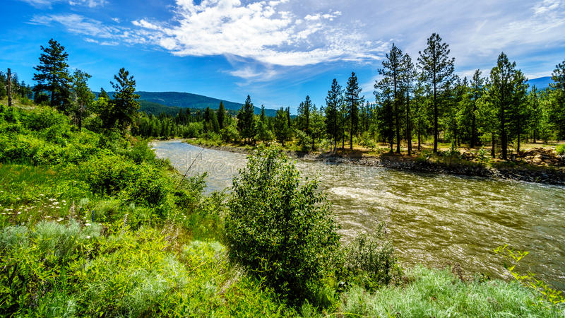 Bend in the Nicola River as it flows from the town of Merritt to the Fraser River royalty free stock image