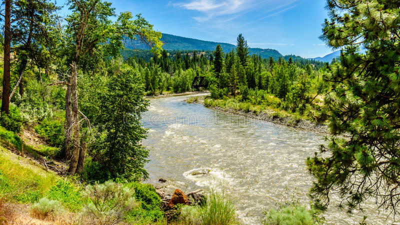 Bend in the Nicola River as it flows from the town of Merritt to the Fraser River at the town of Spences Bridge. In British Columbia, Canada stock photos