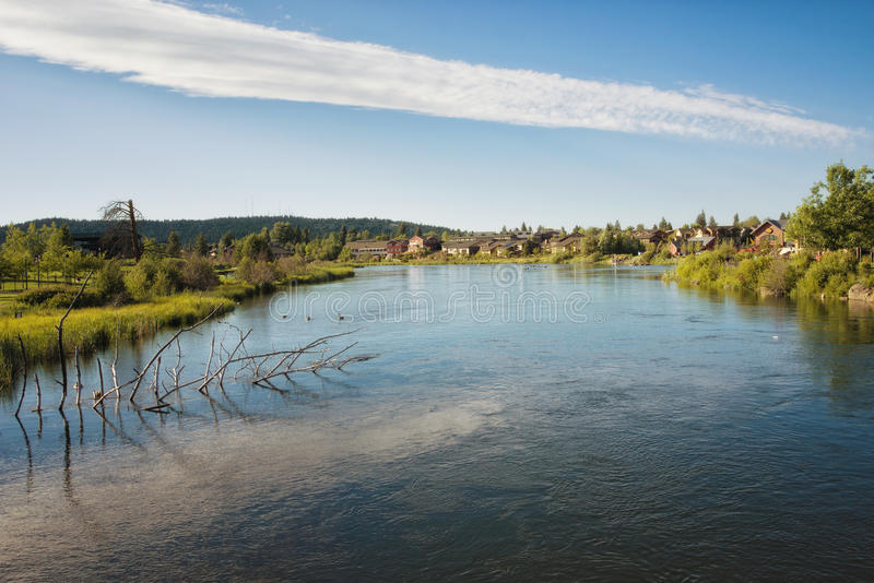 Bend, Oregon, on the Deschutes River royalty free stock image