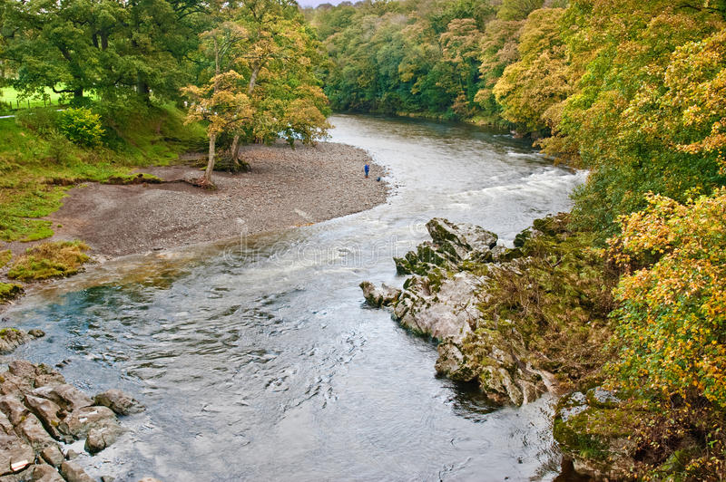 A bend in the River Lune. At Devil's Bridge, Kirkby Lonsdale, Cumbria stock photos