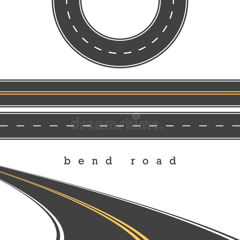 Bend Road, Straight and Curved Roads Vector Set, Road Junction. Vector Illustration. White and Yellow Road Marking vector illustration